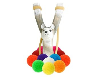 Wooden Wolf Slingshot with 12 Multicolored Felt Ball Ammo - hunting slingshot, wooden slingshot, best slingshot, toy slingshot, wooden toy