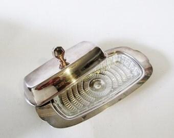 Art Deco Silver Butter Dish, Art Moderne Butter Dish, Glass Liner