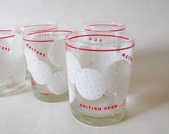 Golf Ball Double Old Fashion Glassware, Tastesetters, Set of Six, Golf Glassware, Retro Bar Ware, Father's Day Gift