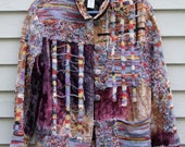 Vintage Chicos Velveteen Knit and woven jacket with fabric loop dangles Size 2