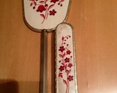 Vintage gold tone hand held mirror & clothes brush - Cream with red flowers