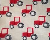 Tractor Flannel Fabric by the yard, red tractor, farmer, farm theme nursery