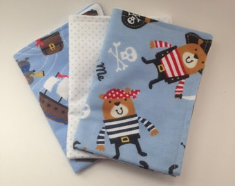 Burp Cloths / Set of 3 Double thickness flannel: Pirate Teddy bears and mice