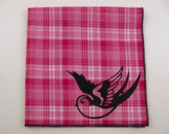 Hankie- SPARROW shown on super soft HOT PINK plaid cotton Hanky-or choose from white or any solid colors or plaids shown in pics
