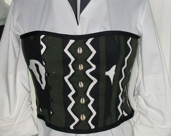 """OOAK African Cowrie Print Lace Up Corset Top and Clutch Set with Cowrie Shells - Bust 38"""""""