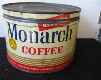 Vintage Monarch 1 lb Coffee Tin,Can-Key opened  Lion graphics