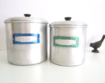 VINTAGE VULCAN Model Maid kitchen canisters - metal, set of 2, rice, tea, anodised name plates