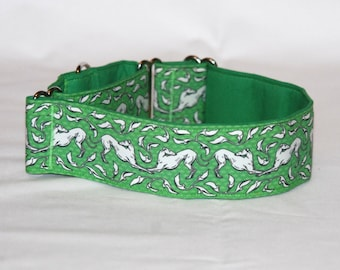 """2"""" Martingale Dog Collar White Bowing Greyhounds on Green Background"""