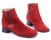 RED Suede Boots 90s Ankle Zip Christmas Booties Grunge Block Heel Leather Europe Quality Booties Boot Christmas Gift sz US 5.5, Eur 36, UK 3