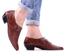 WESTERN ANKLE Shoes 90s Vintage Rust Brown Chelsea Shoe Real Leather Cowgirl Harness Boho Hipster Strap Booties size US 8.5, Uk 6, Eur 39