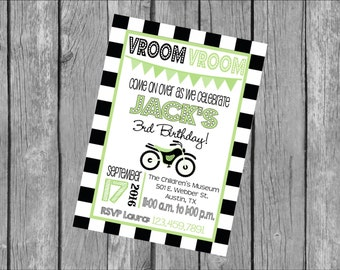 """Customized 5x7"""" Printable OR Printed Invitation WITH Envelopes - Black Lime Checkered Flag Motorcycle Dirt Bike - Or Match ANY theme in Shop"""