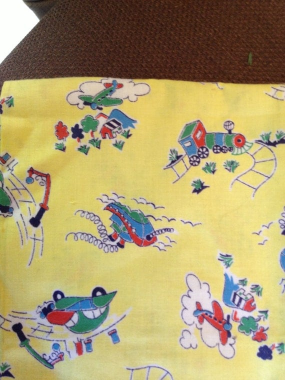 Vintage novelty fabric child yellow print cars train for Childrens airplane fabric
