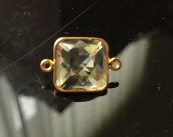 One natural lemon quartz connector size 10mm vermeil gold