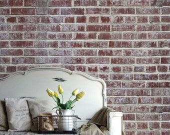 Removable Brick Wallpaper- Distressed- Peel & Stick Self Adhesive Fabric Temporary Wallpaper-Repositionable-Reusable- FAST. EASY.