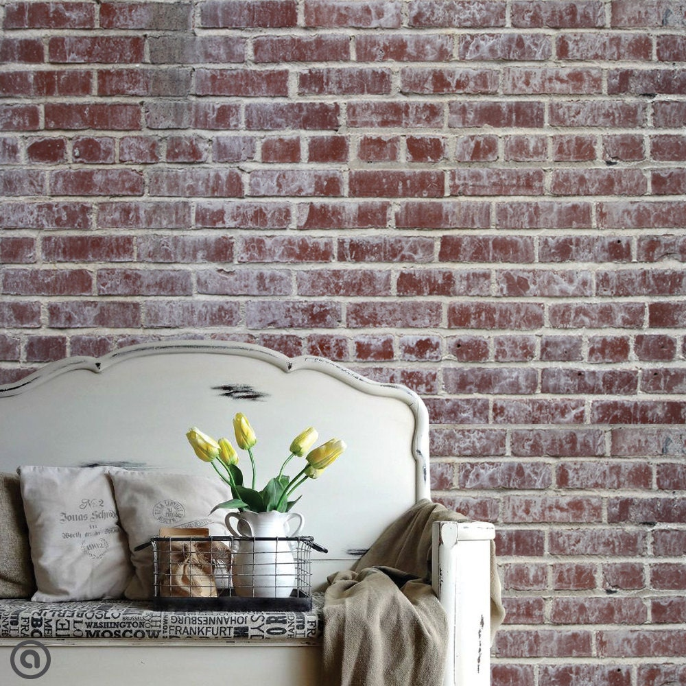 Removable brick wallpaper distressed peel stick self for Wallpaper ideas for your home
