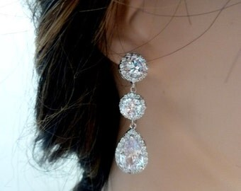 Bridal Earring  AAA LARGE White Clear Pear Shaped Cubic Zirconia with Large Round CZ in a Round Stud White Gold Plated  Post Earring