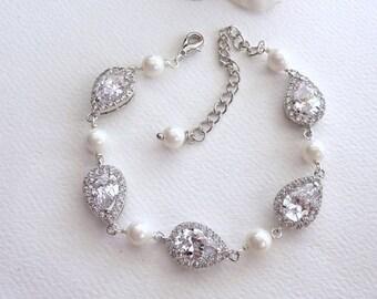 Bridal Bracelet WHITE GOLD Peardrop Cubic Zirconia and Pearl Wedding Bracelet