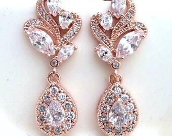 Bridal Wedding Earrings Rose Gold Clear White Cubic Zirconia Pink Gold Fancy Post Earrings
