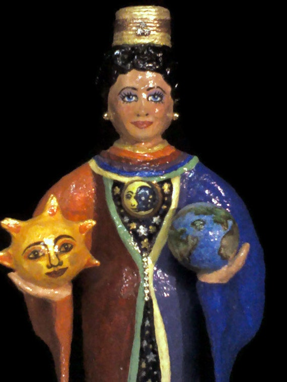 Papier mache Candle Holder the Sun, the Moon and the Earth