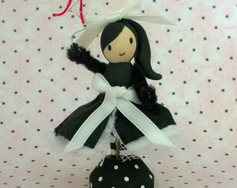 Black and White Clothespin Doll with Balloon Peg Miniature OOAK Polymer Clay Doll Figurine Gift Cute Collectible