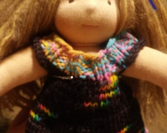 "Waldorf doll Dress Jumper Hand Knit Wool One of a Kind Black with Rainbow Trim 10-11"""
