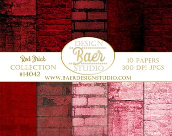 RED DIGITAL PAPER:Red Grunge Digital Background Paper, Red Brick Digital Paper, Junk Journal Paper, Photoshop Background, #14042