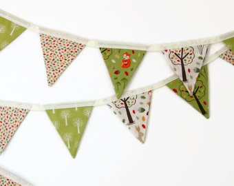 Mini Fabric Bunting - Woodland Theme Forest Bunting - Photo Prop, Party Decor, Fabric Garland, Nursery Decor