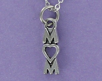 MOM  - Pewter Charm on a FREE Plated Chain Letters with Heart