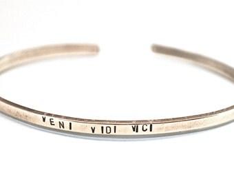 Veni Vidi Vici - Julius Caesar, Minimalist Quote, Custom Handstamped Bracelet in Aluminum, Brass, Gold, or Silver
