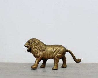 Vintage Brass Lion Figurine - LEO the Lion - Brass Animal Decor
