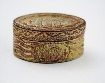 Antique Gilded Brass Copper Snuff Box - Grecian Design Tobacco Box - Gifts for Him Trinket Storage Box