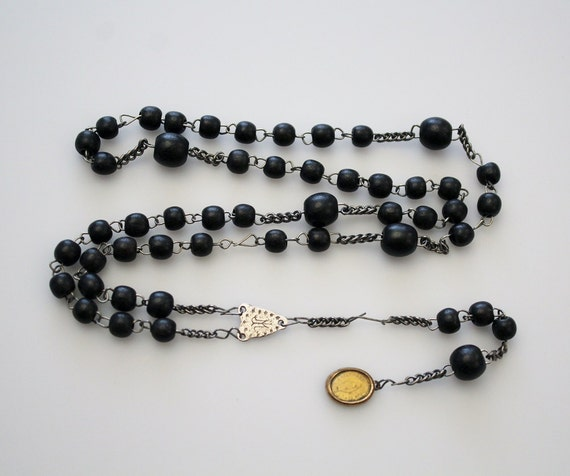 Vintage Classic Black Wooden Rosary Beads O Holy Mary Five