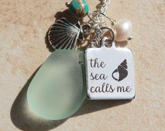 Silver sea glass & charm Necklace, The sea calls me necklace, Sea foam sea glass,  pearl, ocean jasper Necklace, Jewelry gifts, inarajewels