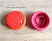 Unique Valentines Day Gift Heart Ring Box Decorative Birthday Anniversary Jewelry Keepsake Small Pill Photo Prop Handmade Pottery Wooden Box