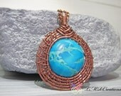 Wire Wrapped Necklace, Antiqued Copper Necklace, Wire Woven Necklace, Blue Magnesite Pendant, Statement Necklace