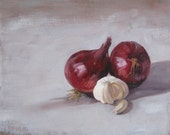 "Original oil on board daily painting still llife onions and garlic oil painting sketch 10"" x 12"" by H Irvine"