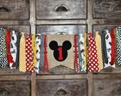 Mickey Mouse fabric highchair rag banner, first birthday party decor, Disneyworld/Disneyland party, cake smash photo prop burlap I am 1 one