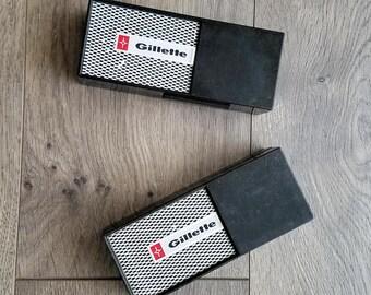 Vintage Gillette Techmatic Razor Set of 2 With Original Cases 1960s