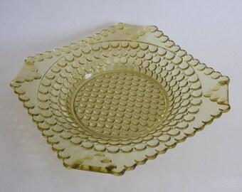 Antique Amber Hobnail Glass Square Serving Bowl
