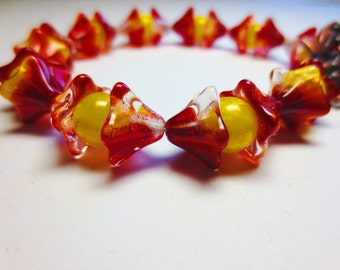 Reddish-Orange and Yellow Floral Rosary Bracelet with Copper Flower Toggle