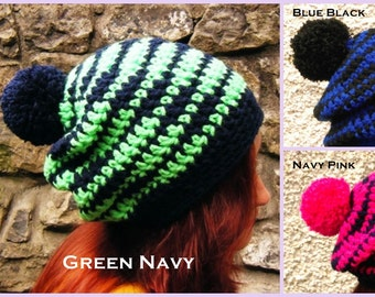 Oversized Slouchy Beanie Adult Hat Pompom Striped Big Chunky Hat with Bobble