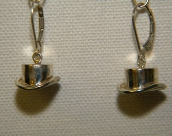 Sterling Silver Top Hat earrings