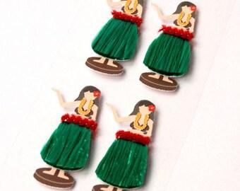 Hula Girls Set of 4 Mini Stickers