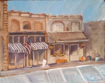 Oil Painting-Hometown-Pumpkins-Brown Art-Original by Diann