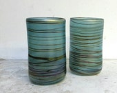 Hand Blown Glass Drinking Tumbler Set of Two in iridecent aqua blue
