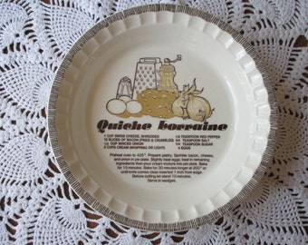 Royal China Quiche Lorraine Recipe Pie Plate - (MOPH Fundraiser)
