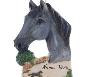 Gray Horse Christmas Ornament Personalized Free with Your Choice of Name and or Year Handmade in the USA - horse lovers gift (233)