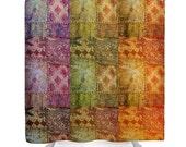 CIJ sale Boho Shower Curtain, Bohemian Home Decor, India, Bathroom Decor, Bollywood, Ethnic, Colorful, Sari, Photo Curtain, Travel Photograp