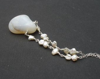 Raw White Opal Polished Stone Pendant, Keshi Pearl, 925 Sterling Silver Wire Wrapped Chain Necklace, Opal Necklace, White Necklace