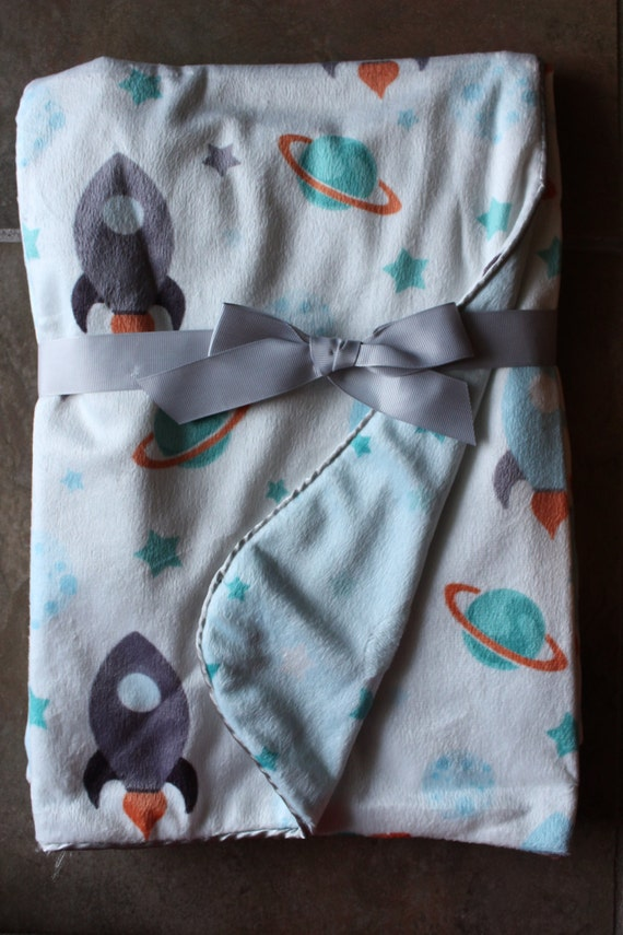 Monogrammed rocketship baby toddler blanket minky blanket for Space minky fabric